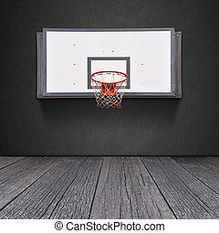 Basketball board on blackboard background with ground of the...