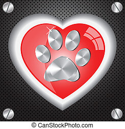 Metal Paw print love - 	Metal Paw print love.Vector