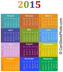 Calendar 2015 - Colorful Calendar For Year 2015