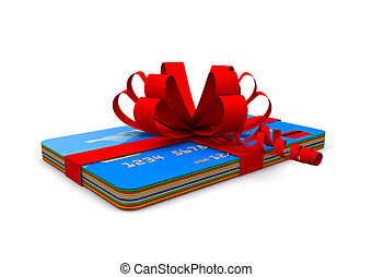 Credit cards with ribbon - A pile of credit cards with a red...