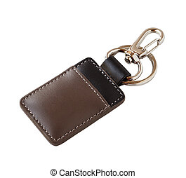 Leather key ring isolated on white background
