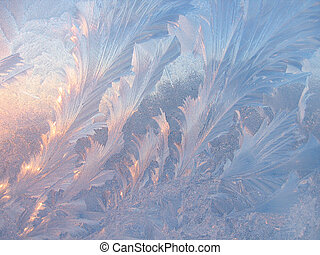 Ice pattern on glass - Frosty natural pattern and sunlight...