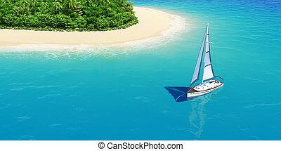Yacht near tropical sand beach with palms.