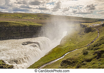 Big Gullfoss waterfall - Iceland.