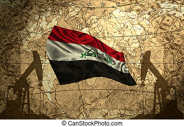 Iraq Oil Power - Iraq flag on the background of the world...