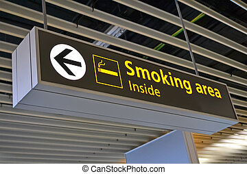 smoking place sign, airport bigboard - smoking place sign,...