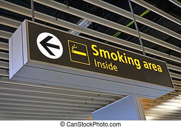 smoking place sign, airport bigboard - smoking place sign,...