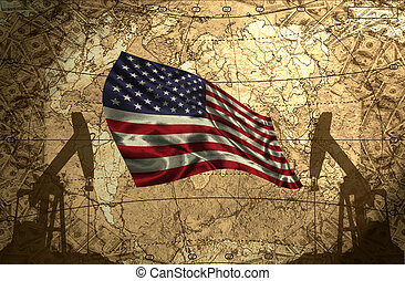 USA Oil Power - USA flag on the background of the world map...