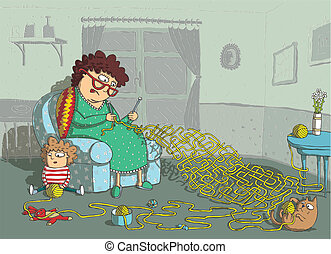Grandma Crochet Maze Game: hand drawing with background on...