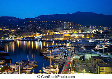 View of Monaco at night