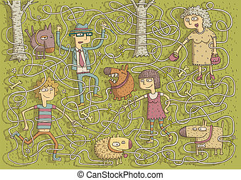 Walking Dogs Maze Game for children with separated isolated...