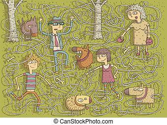 Walking Dogs Maze Game