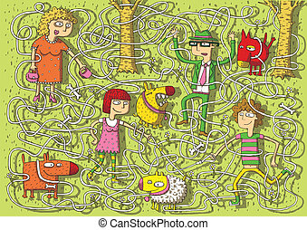 Walking Dogs in Park Maze Game for children with separated...