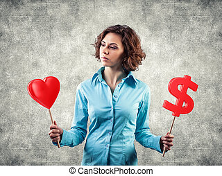 Girl chooses love - Beautiful girl chooses between money and...