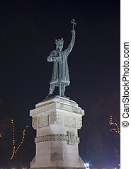 Stephen the Great Monument at night in Chisinau, Moldova. -...