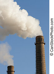 chimneys pollution air - old smoking pipes pollution blue...
