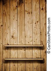 Wooden book shelf - Vintage wooden bookshelf over a grungy...