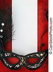Vintage carnival mask with blank banner