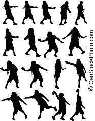 Disc Golf Silhouettes - A lot of 17 dreadlocked disc golfer...