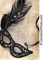 Vintage carnival mask on grunge background