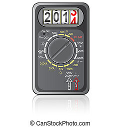 2014 New Year Multimeter  on a white background, vector.