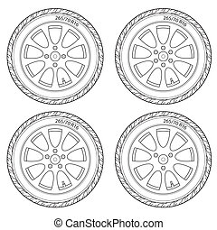 Car Wheel, vector illustration