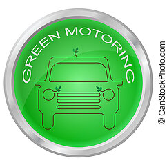Green Motoring button isolated on white background