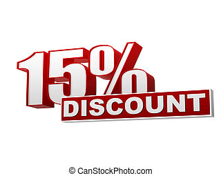 15 percentages discount red white banner - letters and block...
