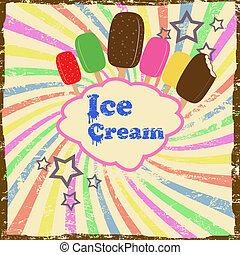 Ice cream vintage poster - Ice cream vintage grunge poster,...