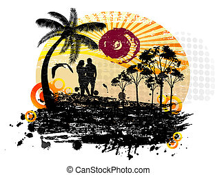 Lovers in a tropical landscape with palms on abstract background, vector illustration