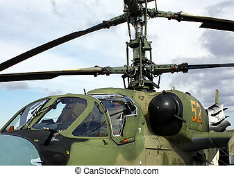Helicopters cockpit - Two men cabin of the Russian attack...