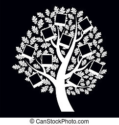 Family genealogical tree on black background, vector...