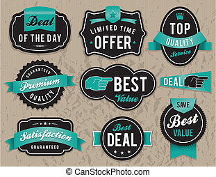 Retro business labels and badges - Set of vector retro...