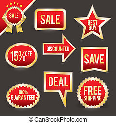 Vector Set of Foiled Sale Badges - A vector set of retail...