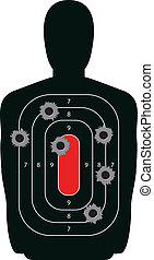 Silhouette Shooting Range Gun Target with Bullet Holes -...