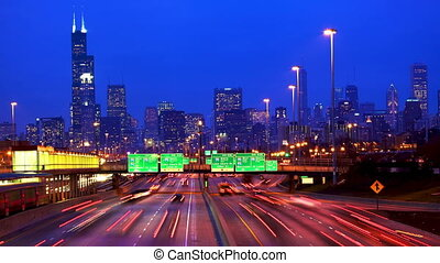 Chicago skyline and traffic - Chicago urban skyscrapers with...