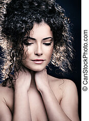 curly hair woman - curly hair young woman beauty portrait...