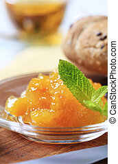 Orange jam - Marmalade on a glass plate