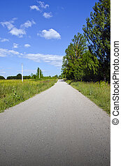 summer rural gravel road perspective