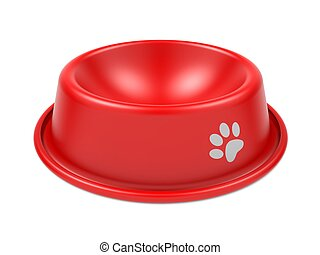Pet Bowl. - Red Pet Bowl Isolated on White Background.