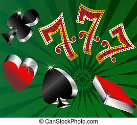 gambling icons cards shiny metallic glossy symbols of...