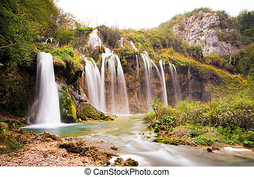Plitvice under the waterfalls - Stunning autumn view on the...