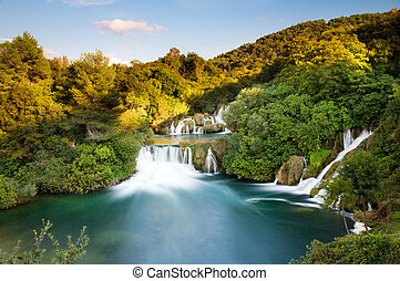 Krka vibrant waterfalls - Beautiful long exposure view over...