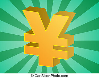 Yen currency japanese money symbol isometric illustration