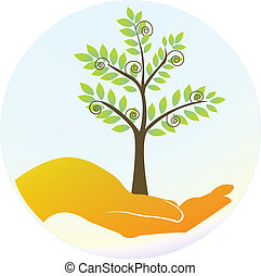 Hands protecting the trees logo vector eps10