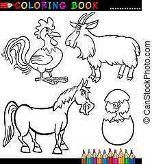 caricatura, granja, animales, colorido, libro
