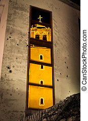 Bullethole church - Reflection of a church at night,...