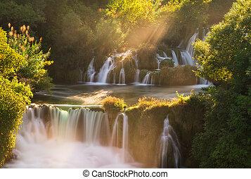 Krka morning waterfalls
