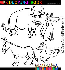 Cartoon Farm Animals for Coloring Book - Black and White...