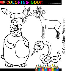 Cartoon Wild Animals for Coloring Book - Black and White...